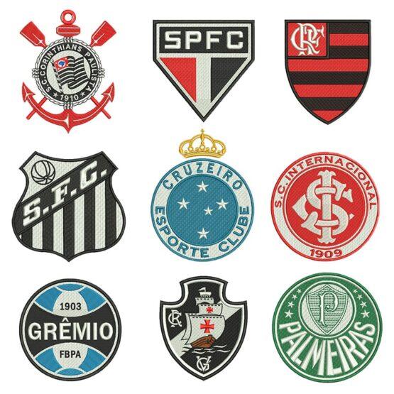 Pacote com 43 matrizes Escudos de Times Brasileiro