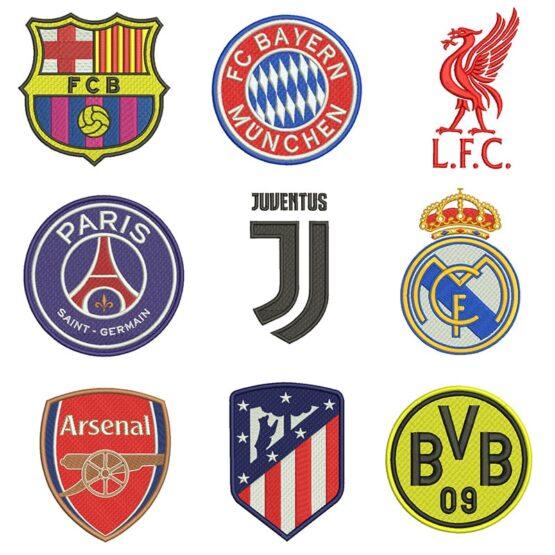 Pacote com 11 Matrizes Escudos de Times Europeus